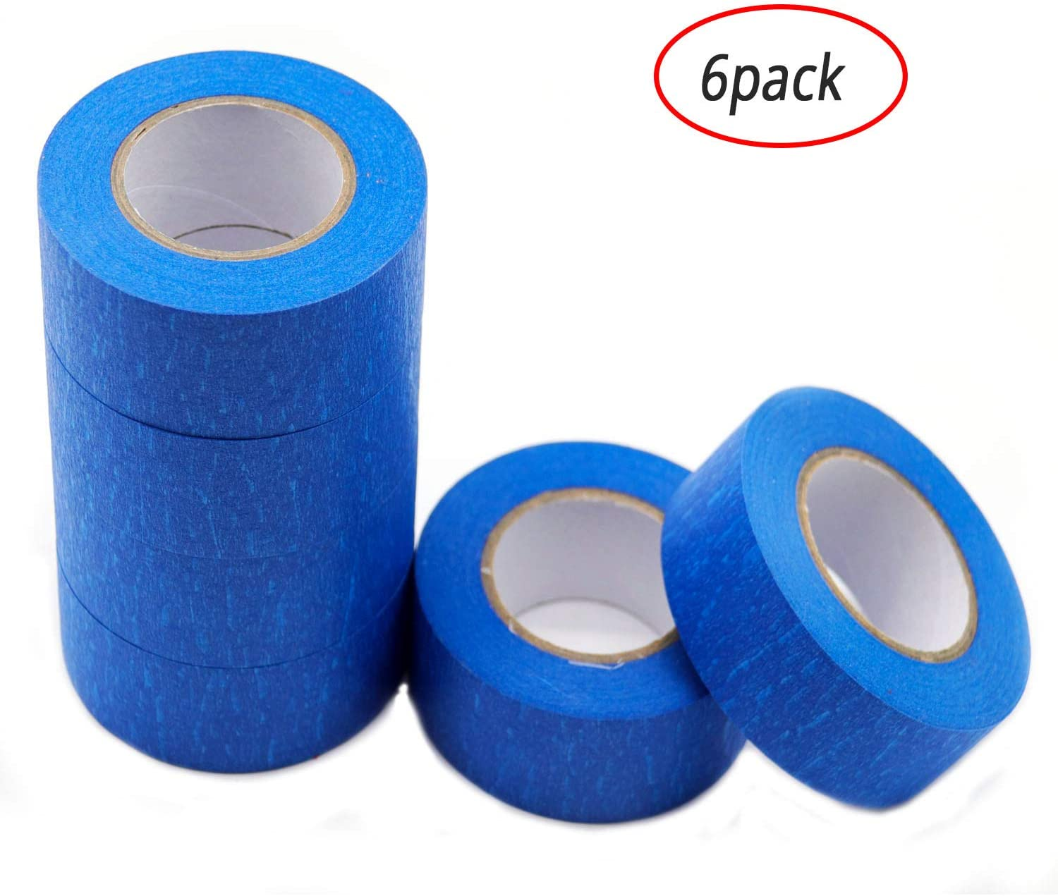 Blue Painters Tape Masking Tape 1 inch,Medium Adhesive,No Residue DIY or Professional Painter (6 Pack,22yard per roll)