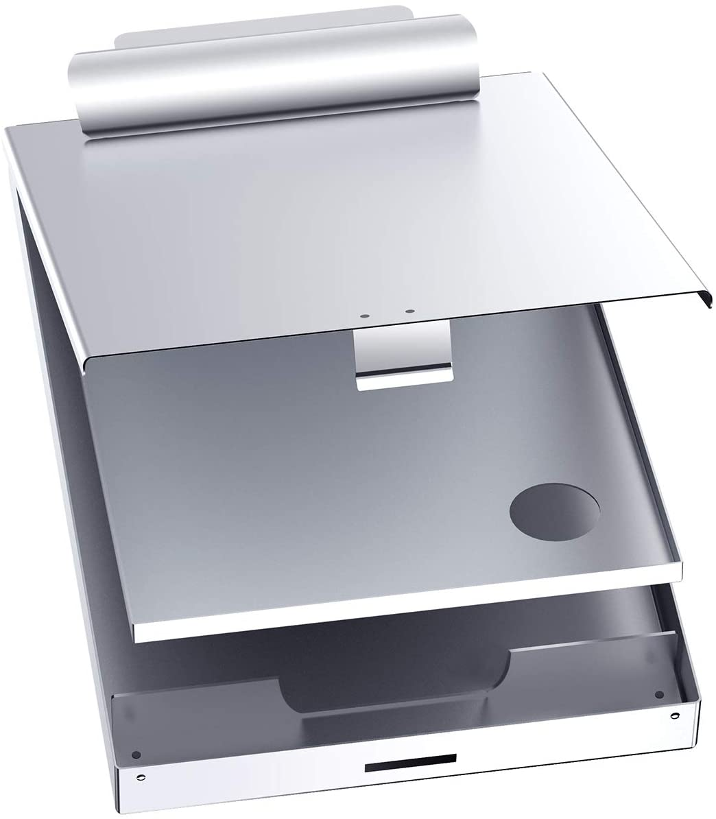 Metal Clipboard with Storage Box, Letter Size Aluminum Clipboards, Metal Binder Form holder with High Capacity Clip, Top Hinge Opening for Heavy Duty, Nursing, Patrol, Office Business Professionals
