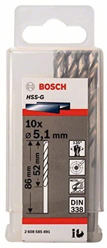 Bosch 2608585491 Metal Drill Bit Hss-G 5, 1mmx52mmx3.39In 10 Pcs