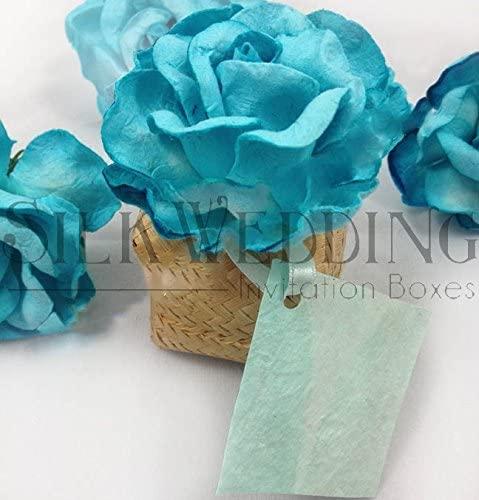 Exotic Beach Wedding Favor Box with Stunning Aqua Flowers