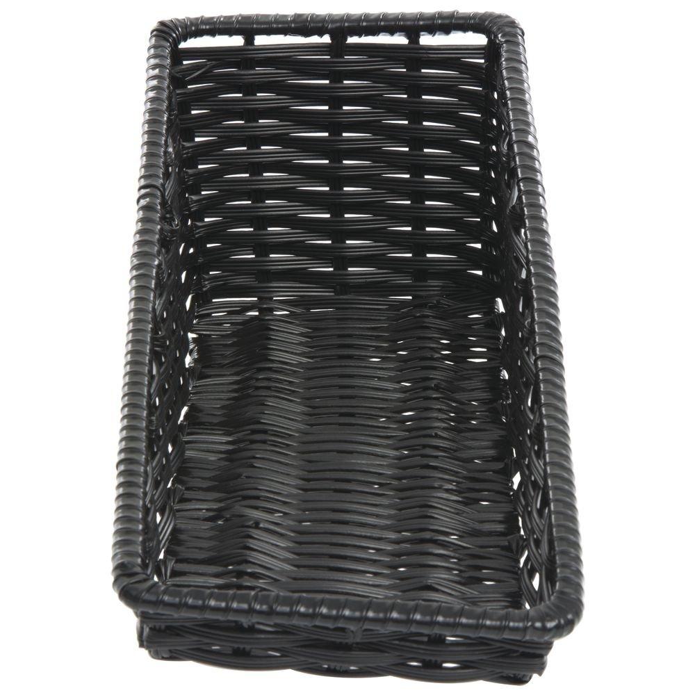 Tapered Wicker Look Tapered Storage Basket, Rectangular Black - 7 1/2