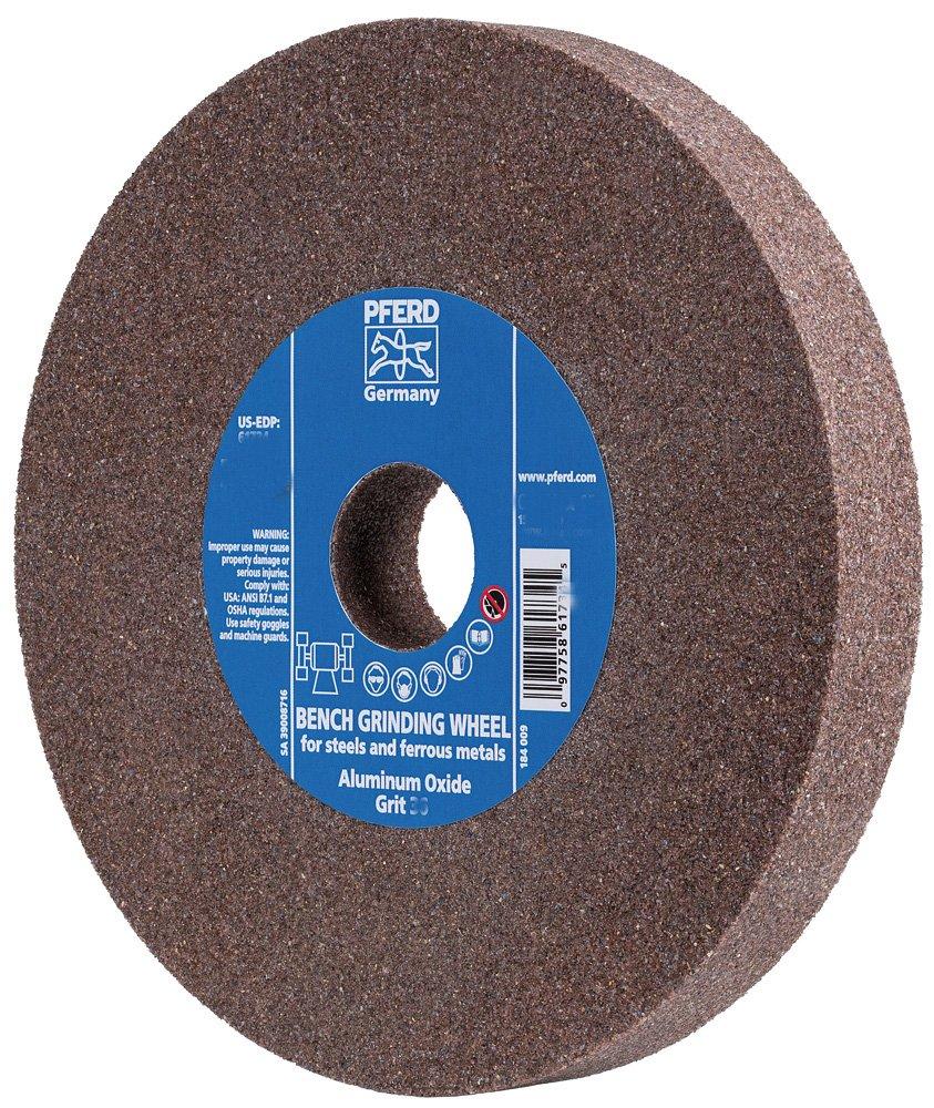PFERD 61794 Bench Grinding Wheel, Silicon Carbide, 8 Diameter, 1 Thick, 1-1/4 Arbor Hole, 60 Grit, 3600 Maximum RPM
