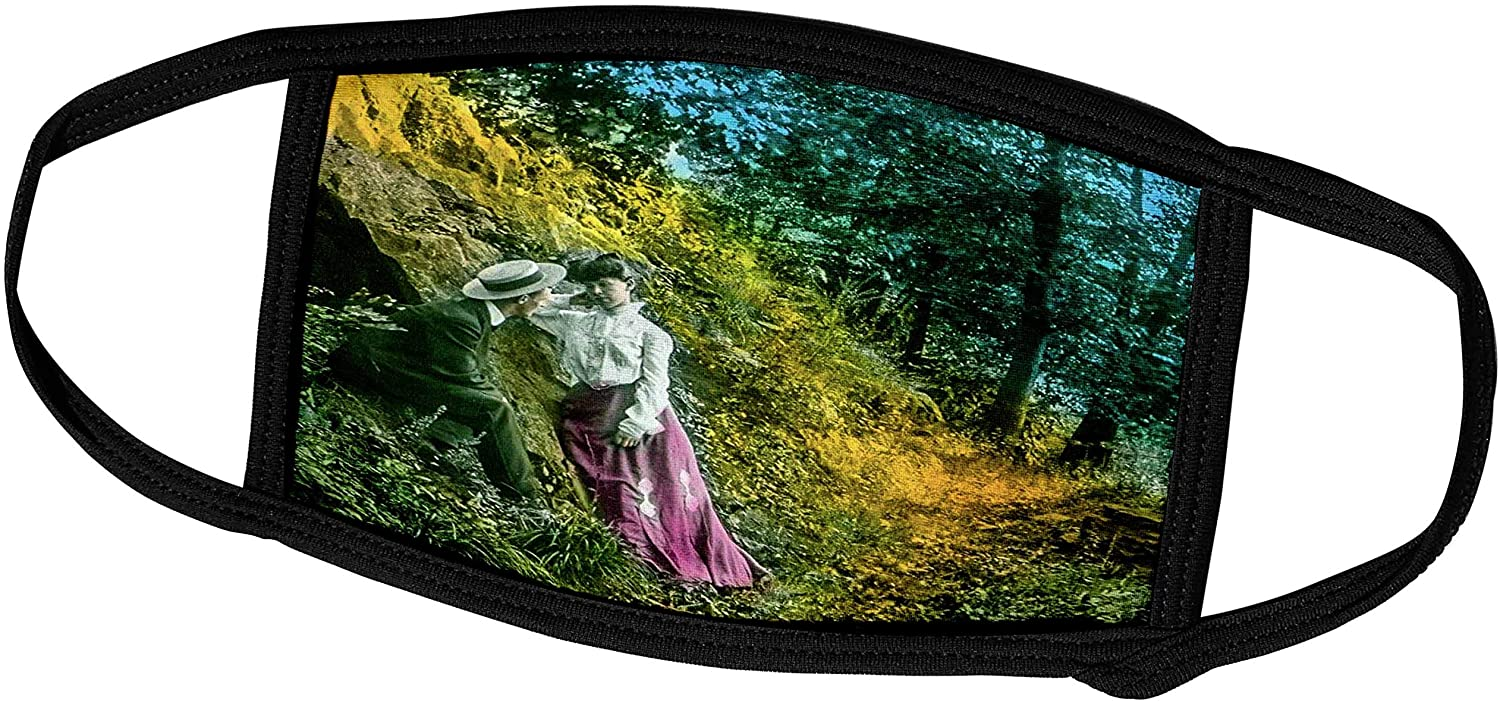 3dRose Scenes from The Past - Magic Lantern - Vintage Magic Lantern Slide Lovers in English Countryside Victorian - Face Masks (fm_300270_3)