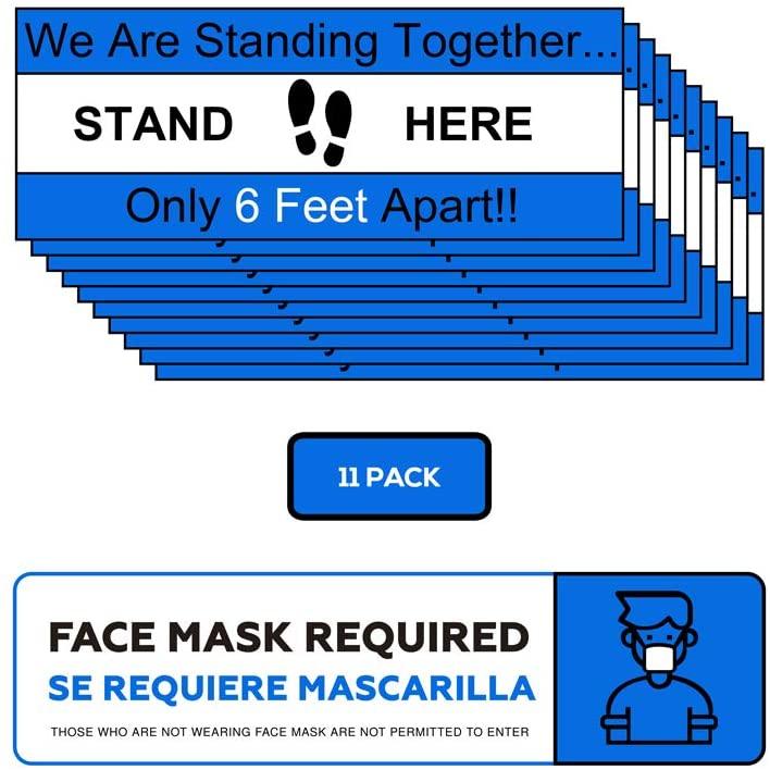 11 Pack 4X14-Inch Commercial Grade Social Distancing Floor Stickers Combo Kit - Floor Decals - FM Sticker Included - Carpet Stickers - Wood Floor Sticker - Waterproof - Antislip Stickers (Blue)