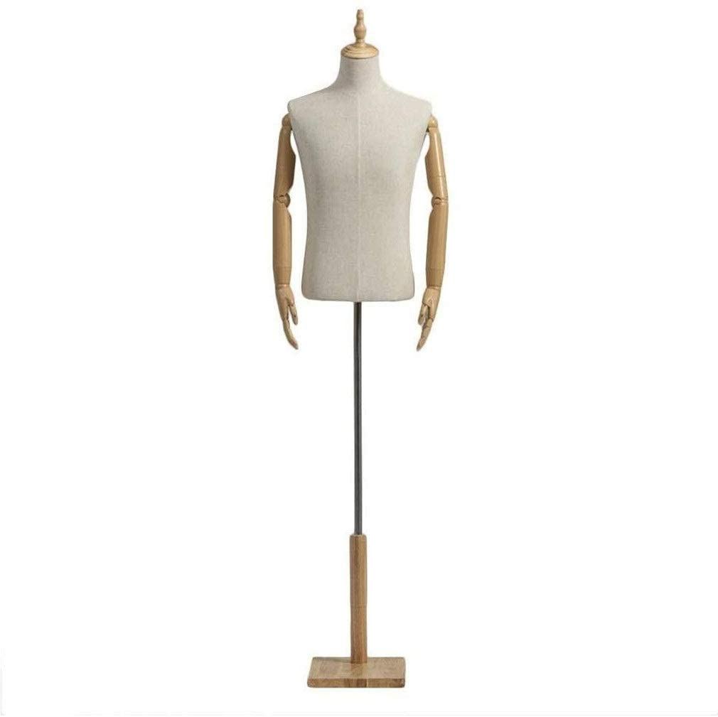 HSQL Mannequin Busts Torso Body Dress Form Manikin with Plastic Arms Stand Dummy Model Clothing Display Easy to Assemble 118 (Color : Wood, Size : Medium)