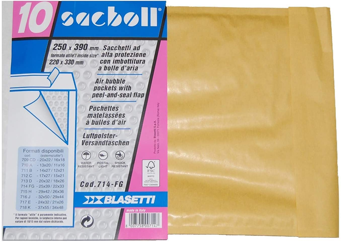 BLASETTI SACBOLL Brown Paper – Envelopes (Paper Envelope, 250 mm, 39 cm, Brown)