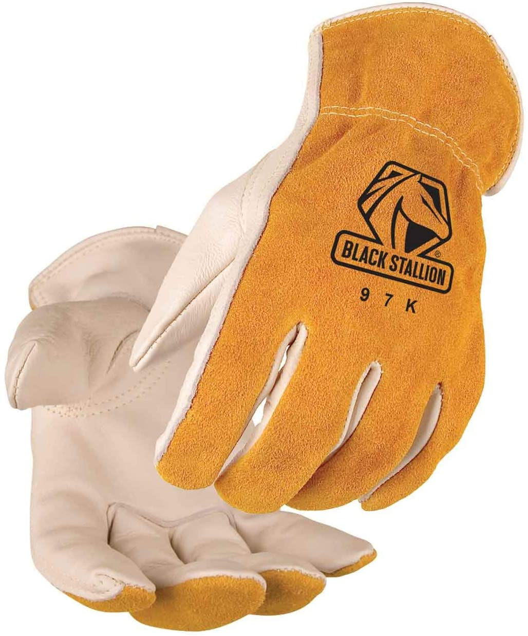 Value Grain/Split Cowhide Kevlar Stitched Driver's Gloves, Size Medium