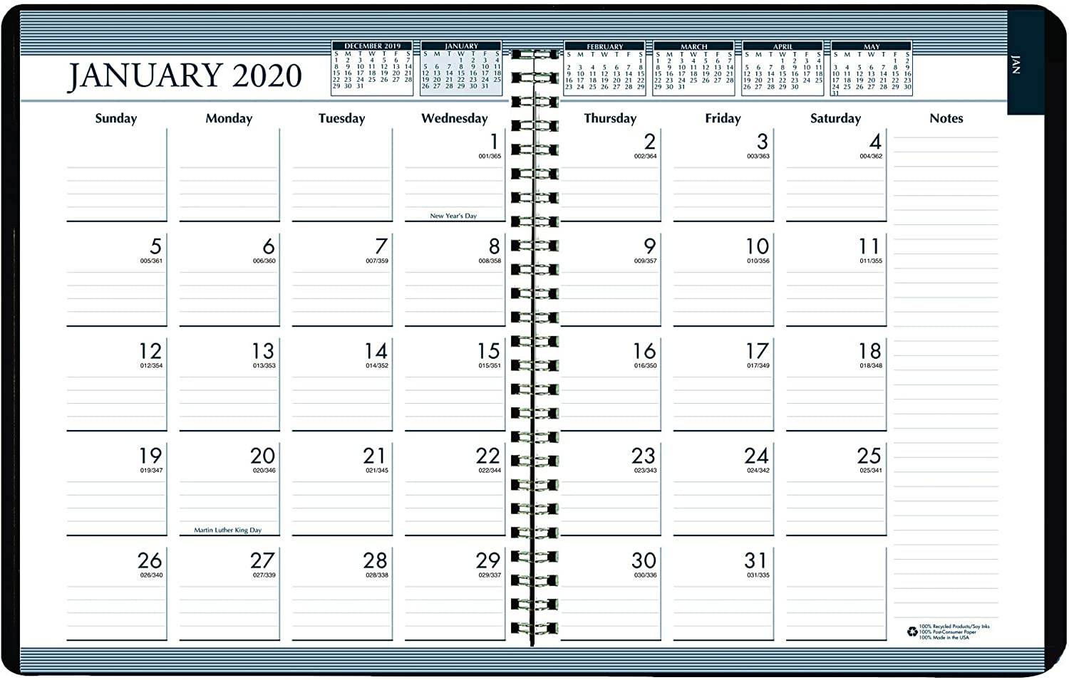 House of Doolittle 2020 Weekly and Monthly Planner Calendar, Black Cover, Tabbed, 8.5 x 11 Inches, January - December (HOD28302-20)