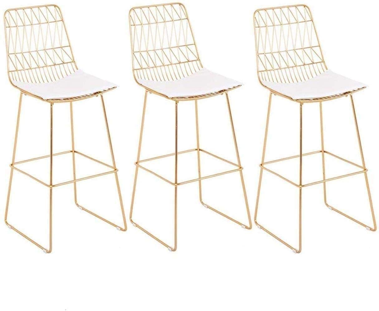 PLLP Bars, Cafes, Restaurant Chairs,Chair Office Chair Desk Chairs On-Trend Kitchen and Breakfast Barstools Set of 3 Pcs Iron Art Dining Chair Makeup Stool Bistro Kitchen Counter Max Load 180Kg