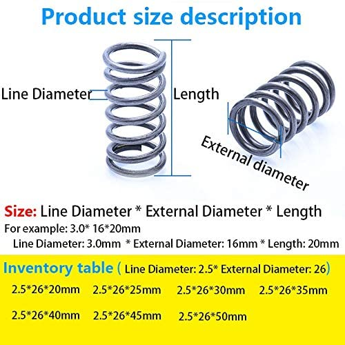 LF-Bolt, 5Pcs Releasing Spring Compressed Spring Pressure Spring Line Diameter 2.5mm, External Diameter 26mm, Length 20mm-50mm Factory Outlet (Size : 20mm(5Pcs))