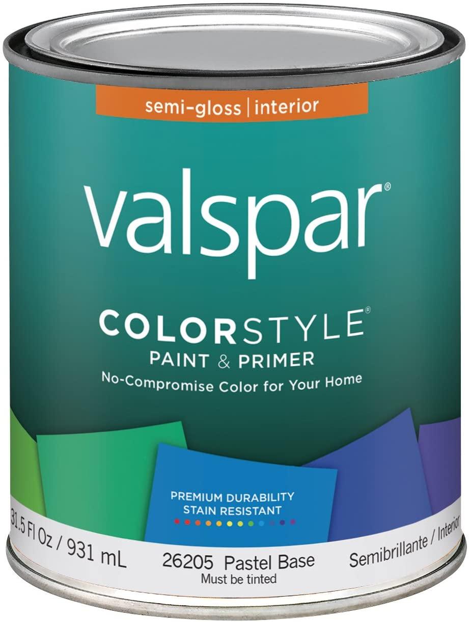 Valspar 44-26200 QT Brand 1 Quart White ColorStyle Interior Latex Semi Gloss Enamel Paint 4