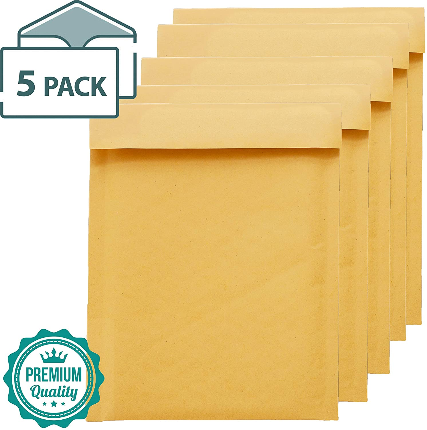 EnDoc 4x8 Inch Bubble Mailers - #000 Lightweight Envelope for Mailing Documents & Small Items - Self-Seal Gold Kraft Padded Wrap Envelopes - 5 Pack