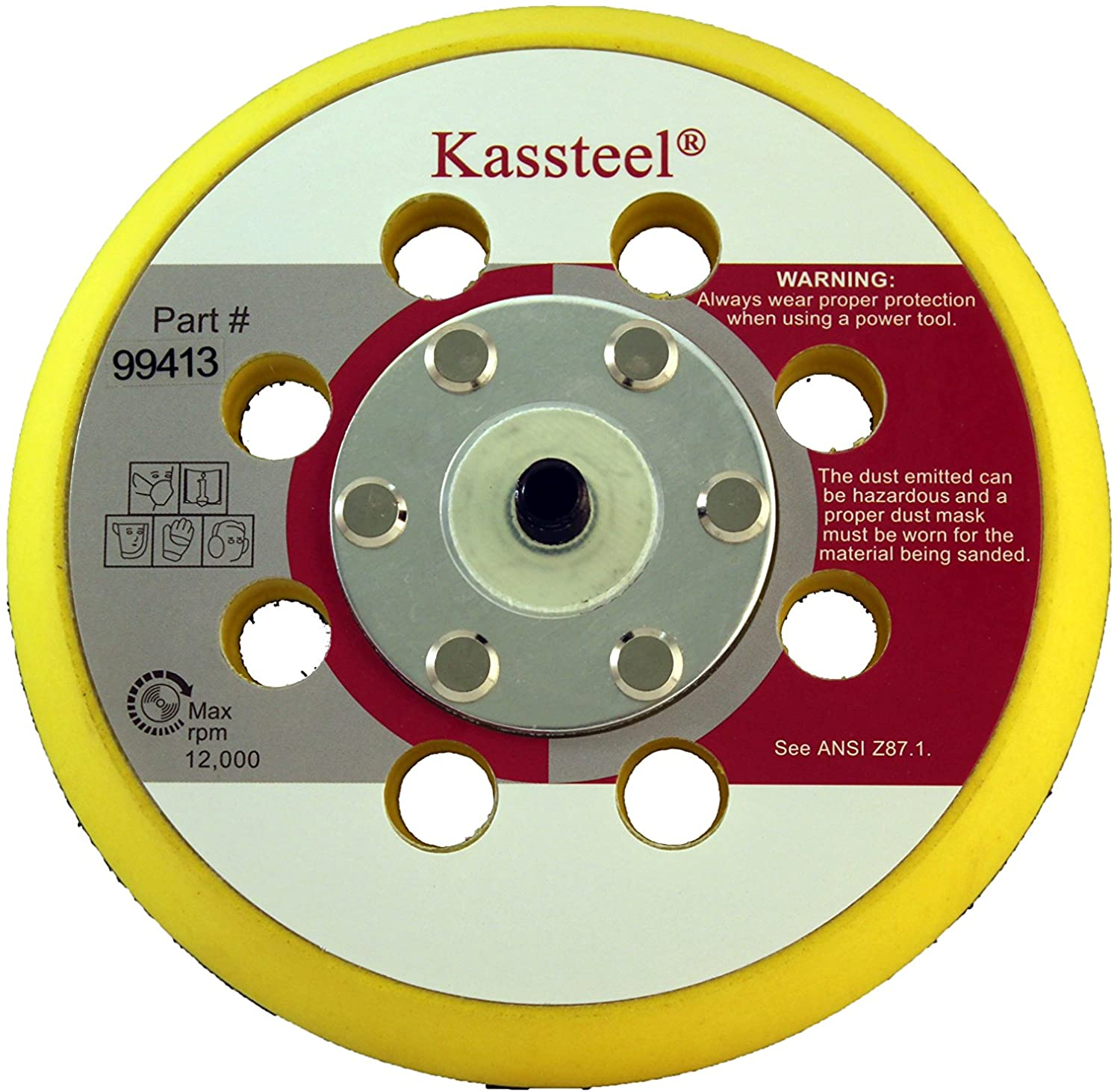 Kassteel 99413 5 by 8 Hole Back-up Pad 13mm Thick 5/16-24 Threaded Hub for Hook & Loop Discs (1 Pad)