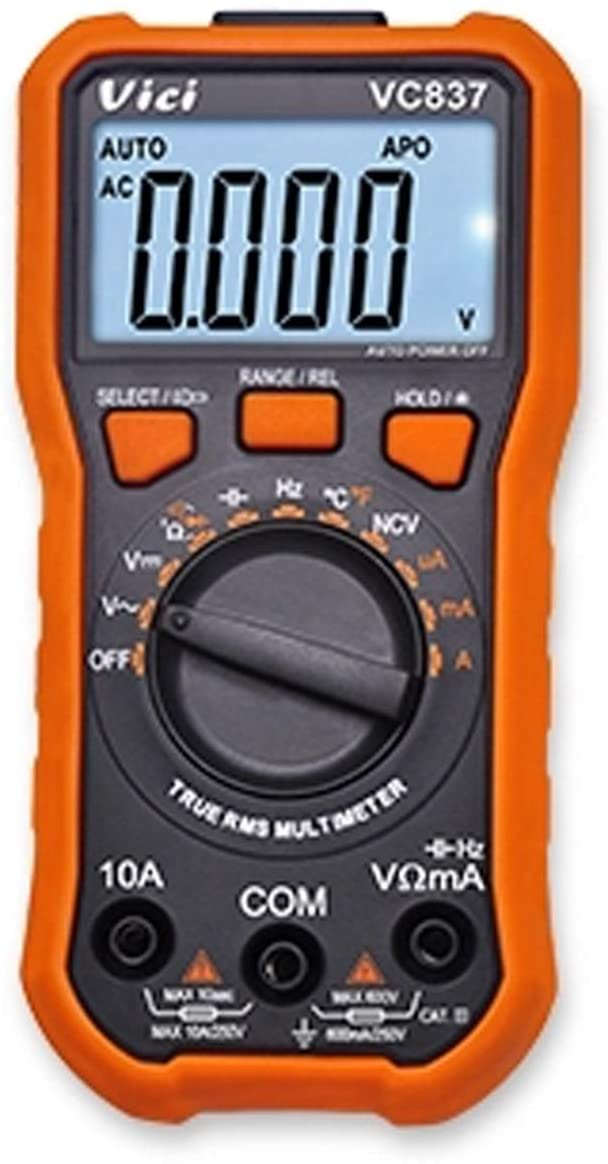 MLH-MLH VC837 Digital Multimeter NCV Function DMM RMS 3 5/6 Auto Range Capacitance Resistance Frequency Duty Cycle Data Retention 6000 Count Multi Tester Digital Clamp