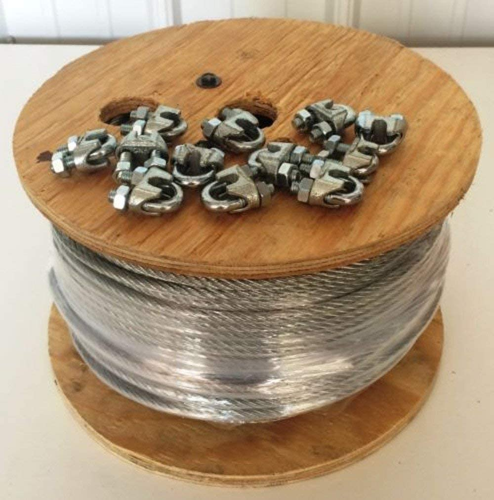 Steel Aircraft Cable 250 3/16 7x7 Hot Dipped Galvanized Steel Wire Rope Cable (With 25 Clamps)