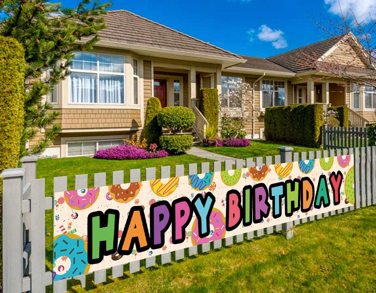 Large Donut Birthday Banner, Donut Theme Birthday Party Decorations Supplies, Donut Grown Up Party, Indoor Outdoor (9.8 x 1.6 feet)