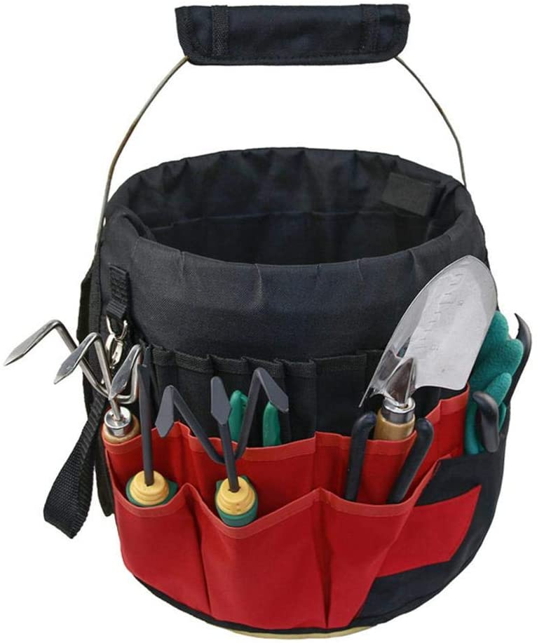 Bucket Tool Bag - Bucket Tool Organizer, Gardening Tote Bag Wear Resistant Garden Tool Storage Tool Bag with 42 Pockets for Gardener