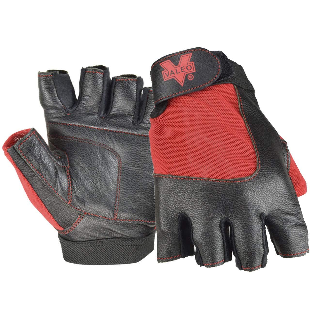 Valeo Industrial V336 Material Handling Fingerless Leather Gloves with Padded Palms, VI5159, Pair, Red, Medium
