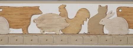 Farming Country Animals Cutting Board Wallpaper Border - Tan Edge …