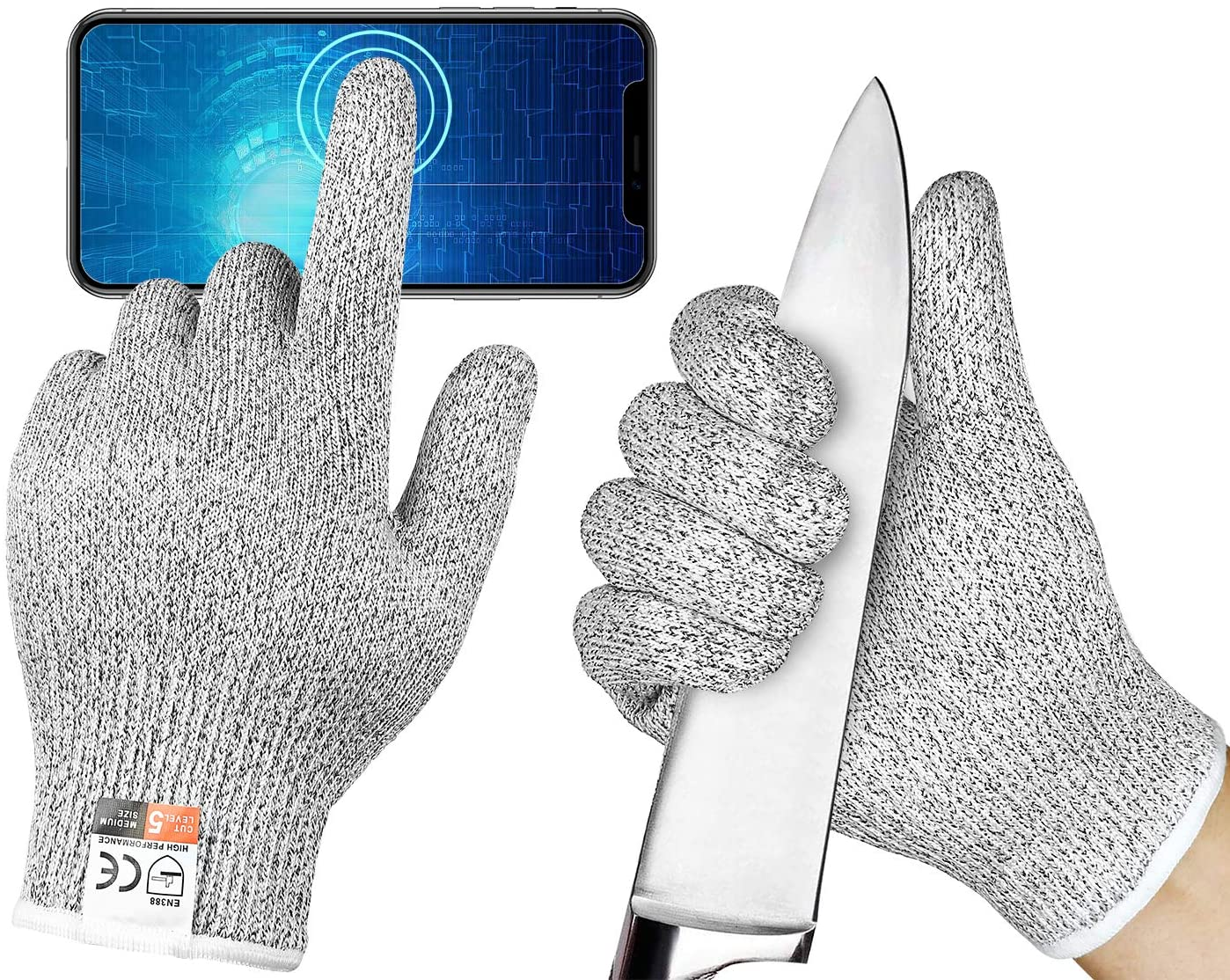 Achiou Cut Resistant Gloves Cutting Kitchen Work Safety Gloves Kevlar Gloves for Kitchen Mandala Slicer Vegetable Slice Fruit Peeling Wood Carving Garden