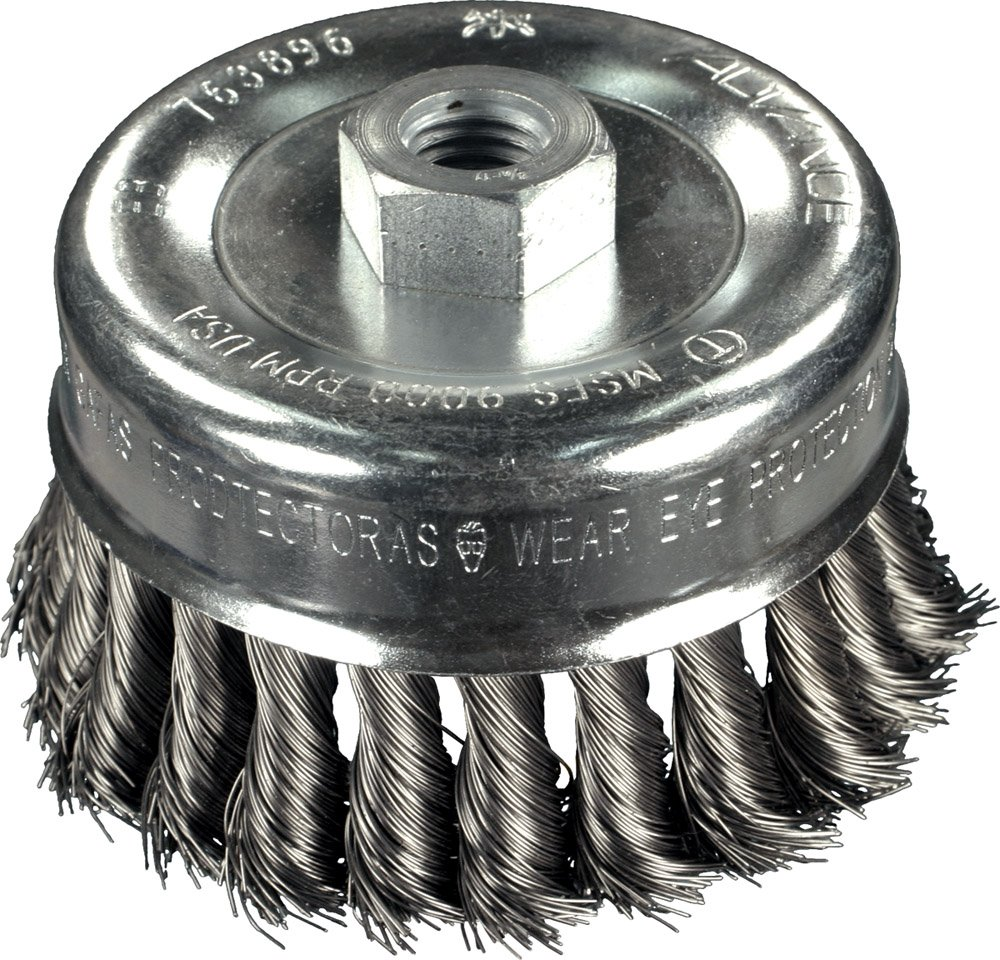 PFERD 764237 Power Economy Universal Line PS-FORTE Unbridled Knot Wire Cup Brush, Threaded Hole, Carbon Steel Bristles, 2-3/4