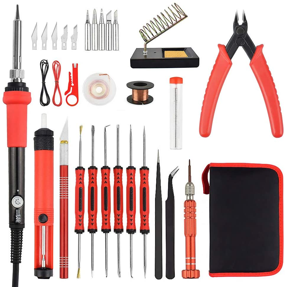 60w Adjustable Temperature Electric Soldering Iron Kit with PU Tool Bag, 25 in 1 Full Set DIY Repair Welding Gun,5pcs soldering tip,6pcs Solder Assist Hand Tool,Wire Stripper (red)