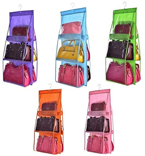 Double Transparent 6 Pocket Foldable Hanging Handbag Purse Storage Bag Sundry Tidy Organizer Wardrobe Closet Hanger - Blue