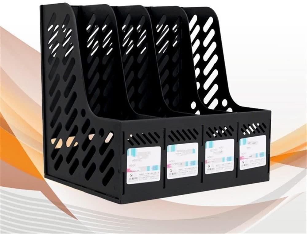 Plastic Magazine Holder Frame File Splitter Filing Cabinet Rack Display and Storage Organizer Boxes 4 Grid File Holders Office Supplies,Black