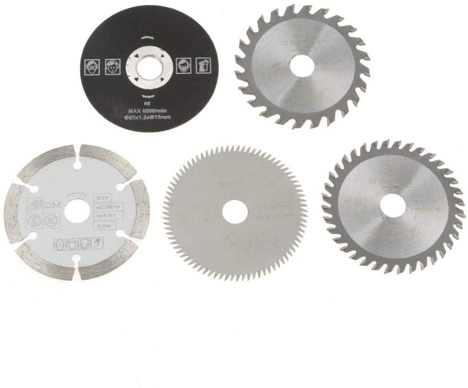 Meiyya Circular, 5Pcs 85mm Inner Diameter 15mm Mini Carbide Circular Saw Blade for Cutting Tool