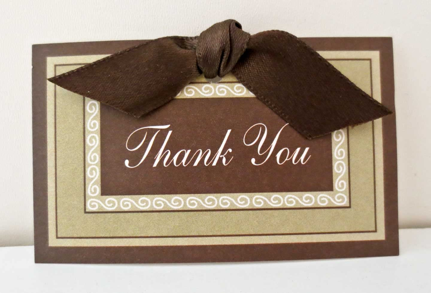 Pack of 30 Thank You Standouts with Sticky Adhesive and Ribbon, Brown colors with border