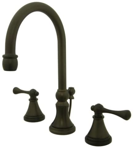 Kingston Brass KS2985BL Governor Widespread Lavatory Faucet with Brass Pop-Up and Metal Lever Handle, Oil Rubbed Bronze