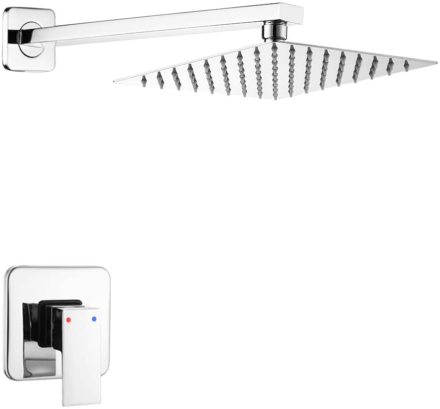 Shower Faucet Set Chrome, Single Function Shower Trim Kit with Rough-in Valve Bathroom Luxury Rain Shower Set Bath Rainfall Shower System with Square Stainless Steel Metal Showerhead