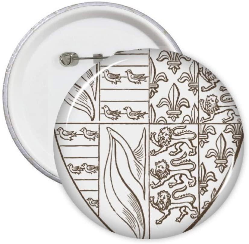Black White Art Shield Lion Illustration Pattern Pins Badge Button Emblem Accessory Decoration 5pcs