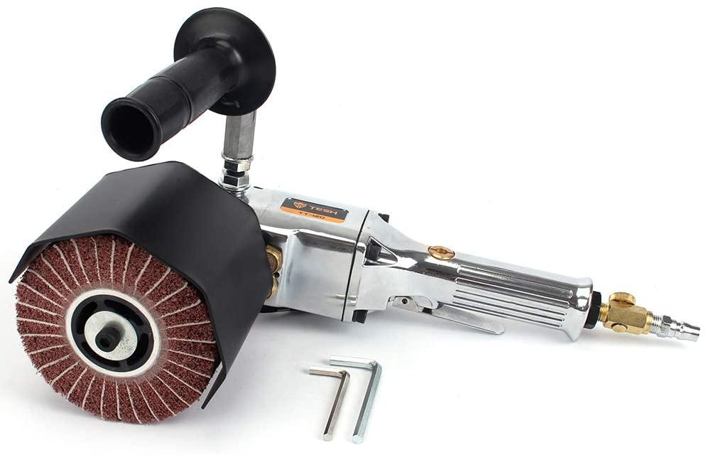 Pneumatic Burnishing Polishing Machine Air Wire Drawing Machine with 3Pcs Non-Woven Burnishing Polishing Wheels(80# 320# 600#) fits Polisher/Sander Metal, Stainless Steel Polishing