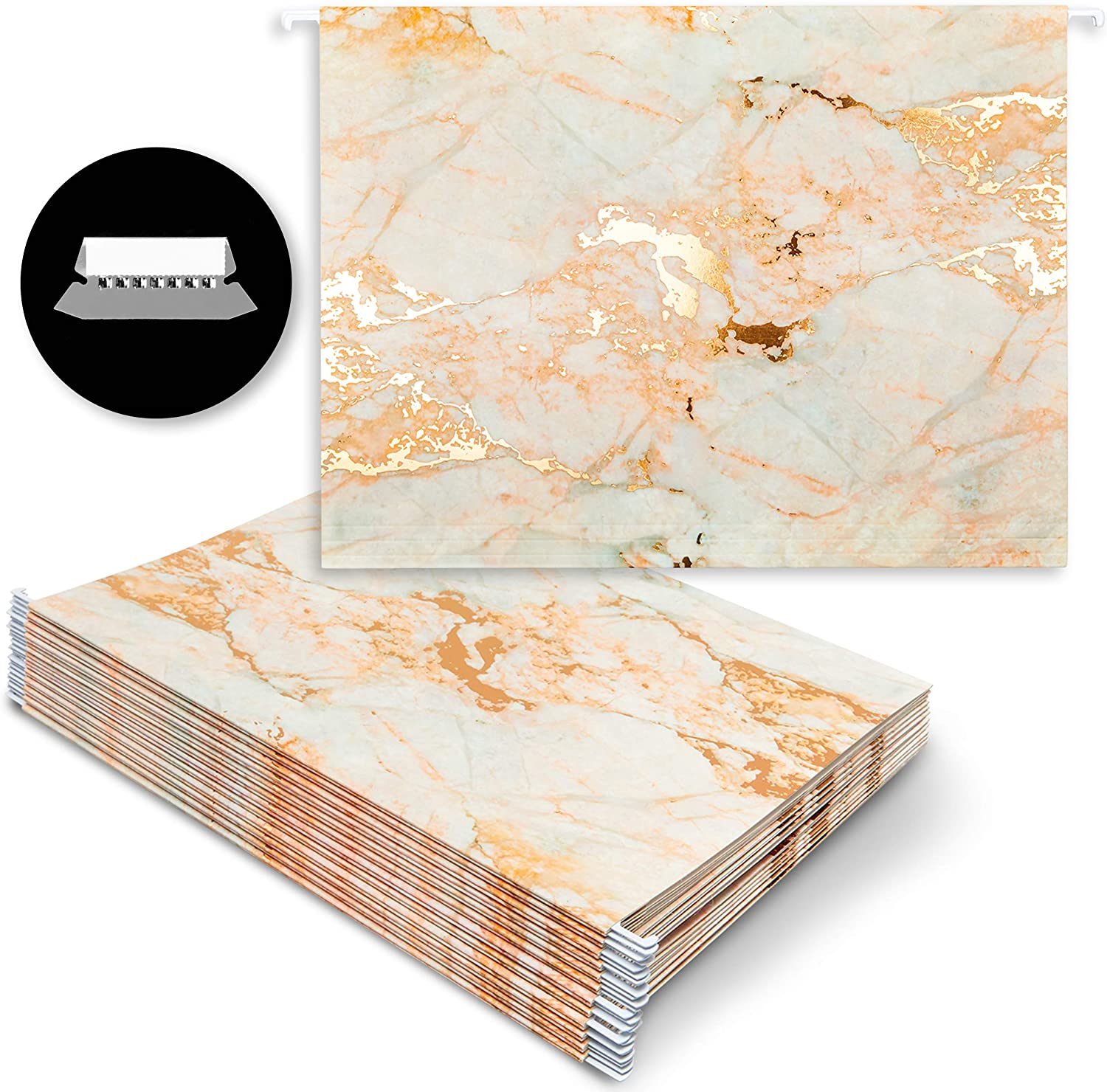 Hanging File Folders, Marble Office Accessories (11.5 x 9.5 in, 12 Pack)