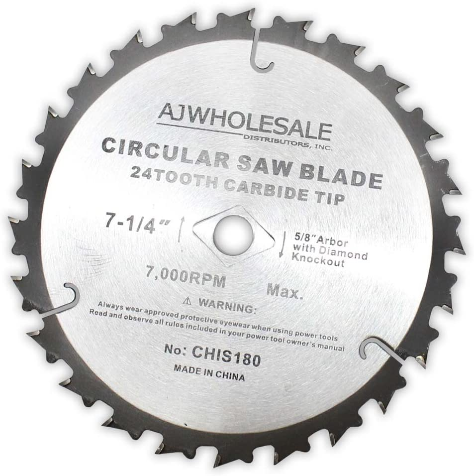 7-1/4 Inch Diameter Carbide Tip Saw Blade With 24 Teeth (ToolUSA: A90-IS180)
