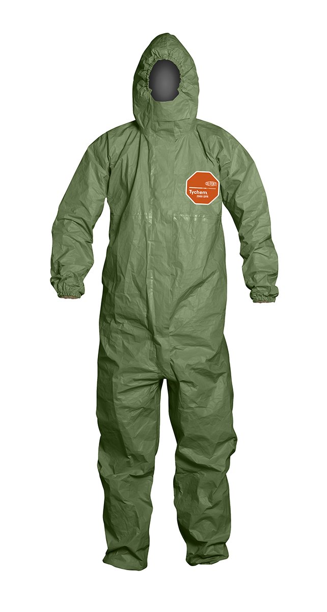 DuPont - QS127TGR2X000400 Tychem 2000 SFR Coverall with Attached Hood, Front Zipper Closure, Taped Seams and Storm Flap, Green, 2X-Large, 4-Pack