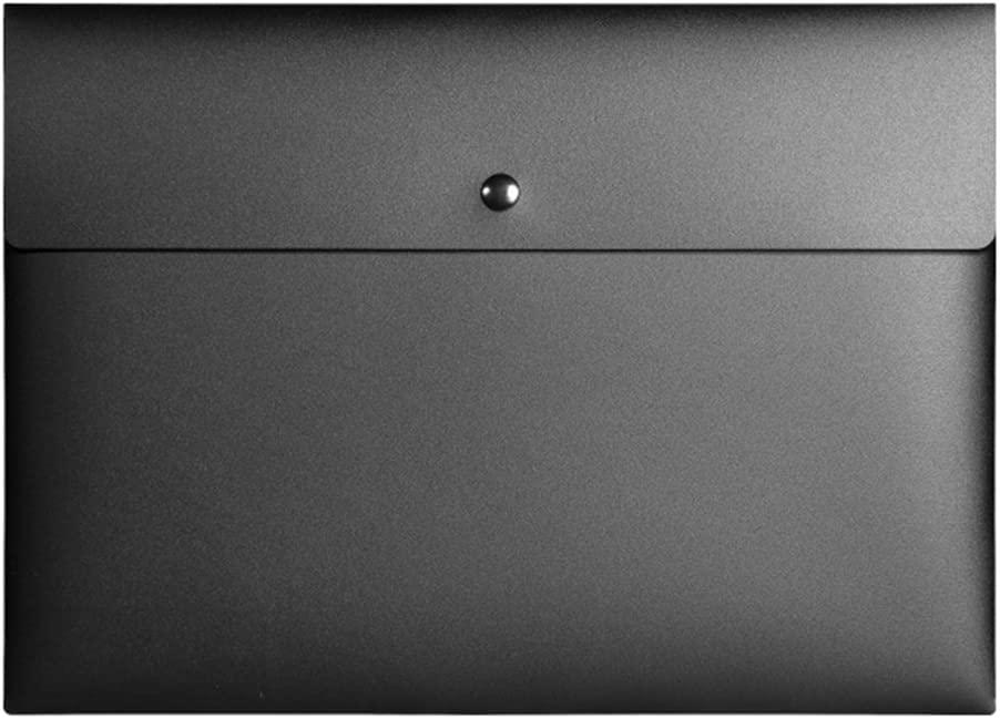 OLizee™ Pack of 4 Premium Snap Closure Filing Envelopes Document Folder for Office Organization(Black)