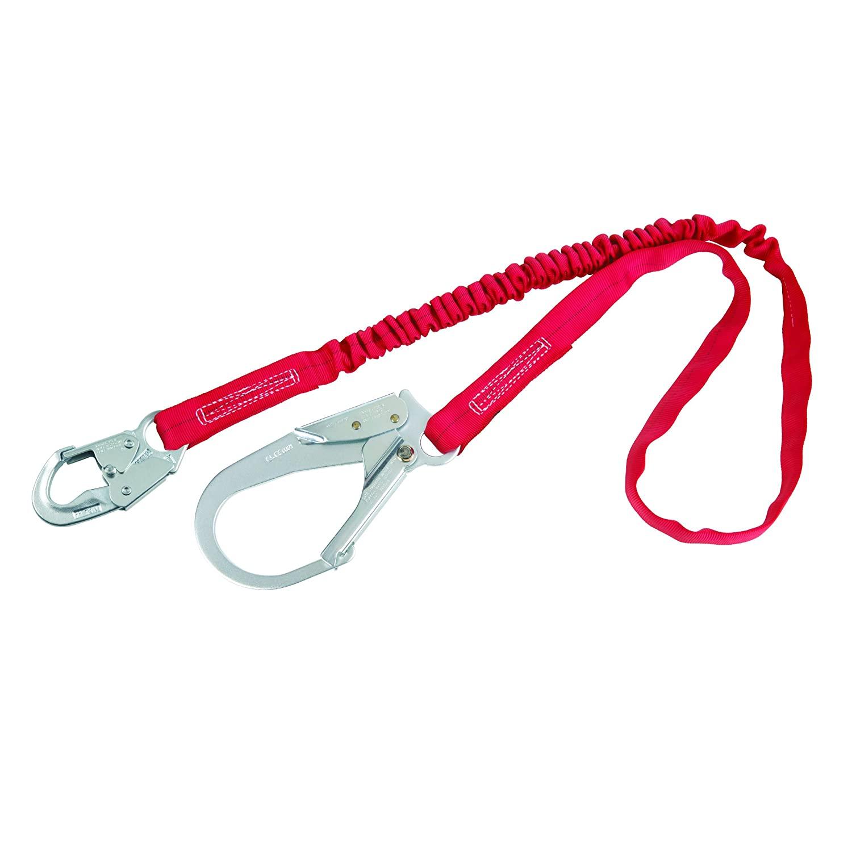 3M Protecta PRO-Stop 1340230 6' Tubular Shock Absorbing Lanyard, Snap Hook At One End, Rebar Hook On Leg End,310 lb. Capacity, Red