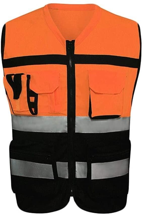 Safety Vest Safety Vest, Reflective Vest, High Visibility Vest, Lightweight and Breathable Multi-Pocket Overalls, Night Travel, Safe Reflection Child Safety Vest (Color : A, Size : L)