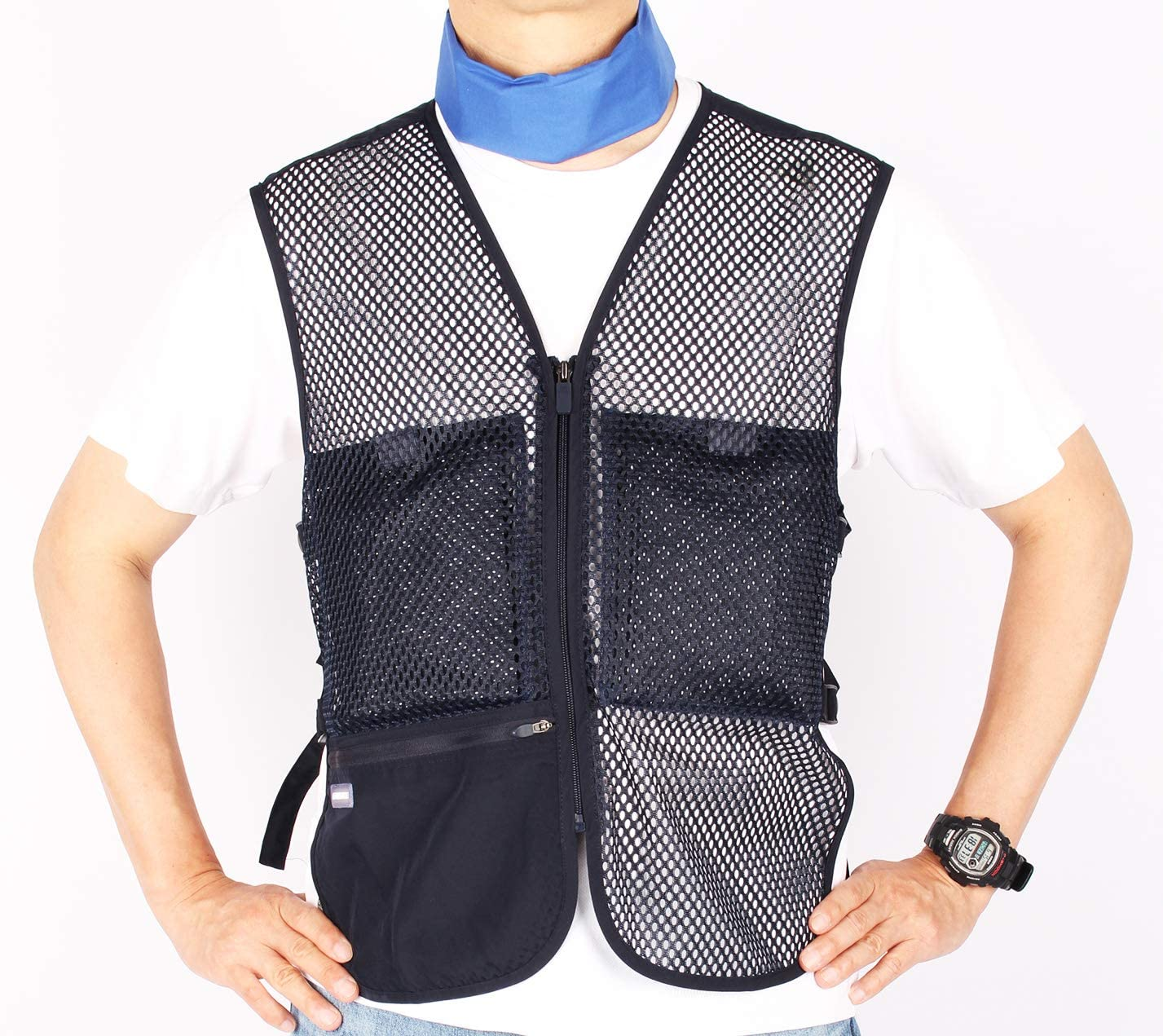 Personal Body Cooling Mesh Vest with Coolants and Ice Neck Wrap Set