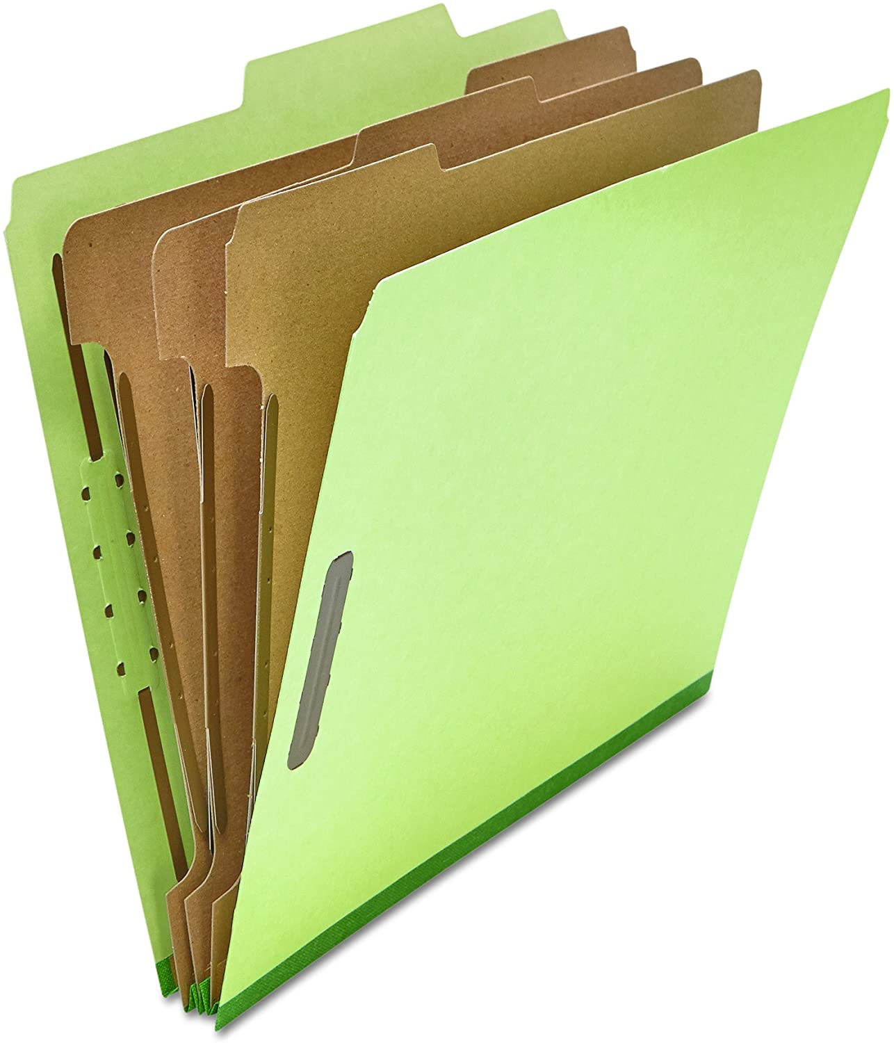 Universal 10291 Pressboard Classification Folder, Letter, Eight-Section, Green (Box of 10)