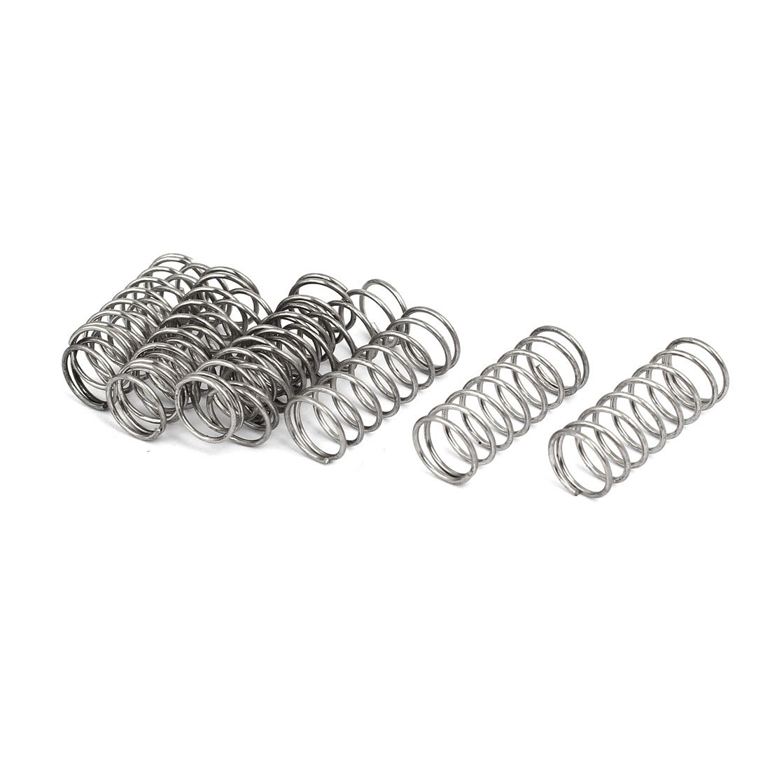 uxcell 1mmx12mmx30mm 304 Stainless Steel Compression Springs Silver Tone 10pcs