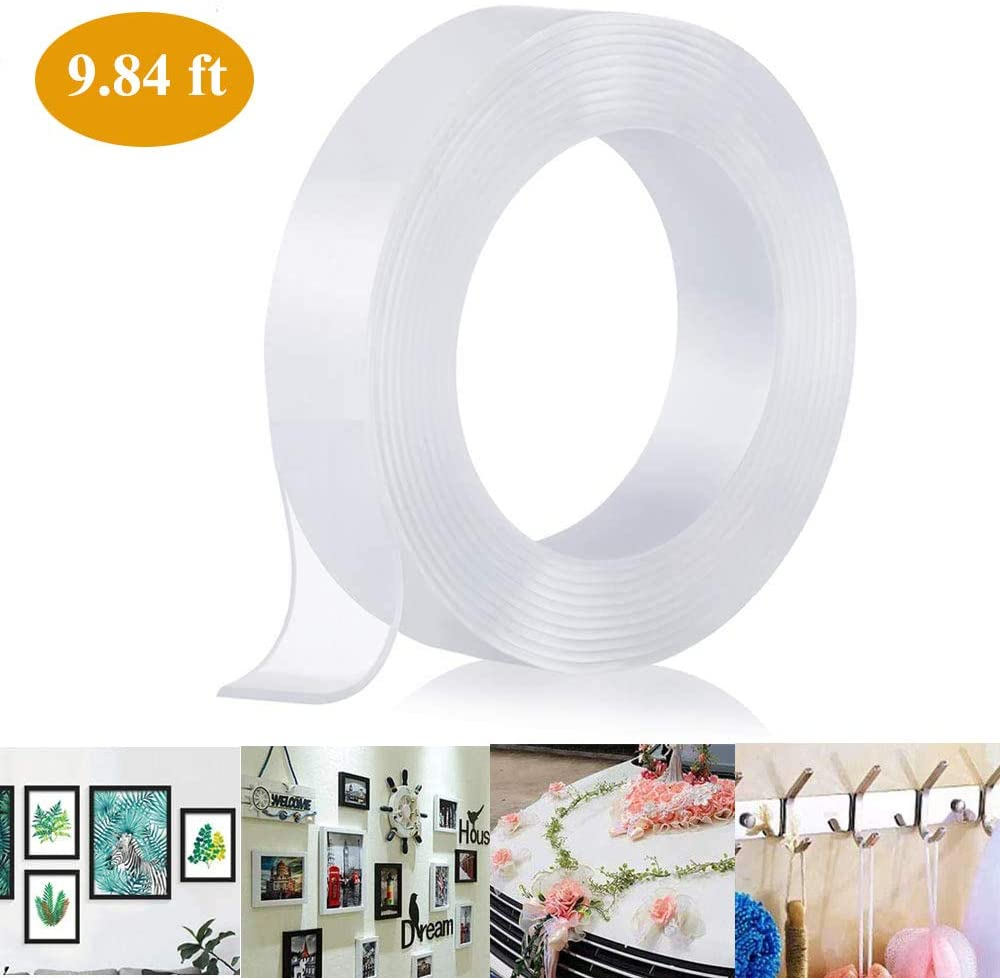 Nano Tape Double Sided Adhesive,Wall Tape Gel Sticky Tack Clear Traceless Washable Reusable Picture Hanging Strips for Paste Photos Poster, Household, Kitchen Holder (16.5FT/5M) (clear-1m)