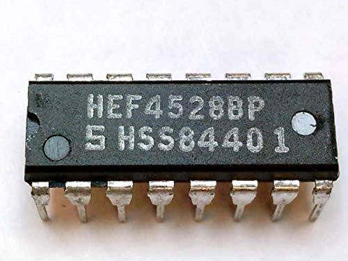 NXP SEMICONDUCTOR HEF4528BP 4000 LOCMOS Logic; MULTIVIBRATOR Type:RETRIGGERABLE MONOSTABLE; Output Current:2.4MA; Propagation DELAY:35NS; Logic CASE Style:DIP; NO. of PINS:16, IC