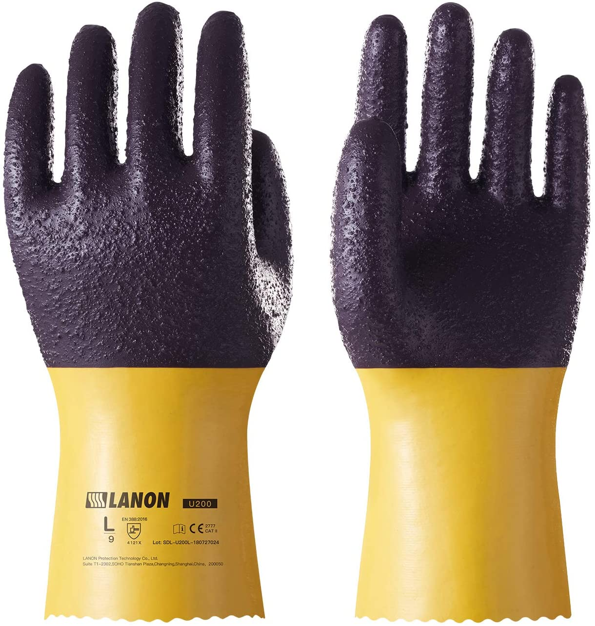LANON PVC Coated Safety Work Gloves, Reusable Heavy Duty Gloves with Micro Granular Finish Palm, Non-Slip, X Large