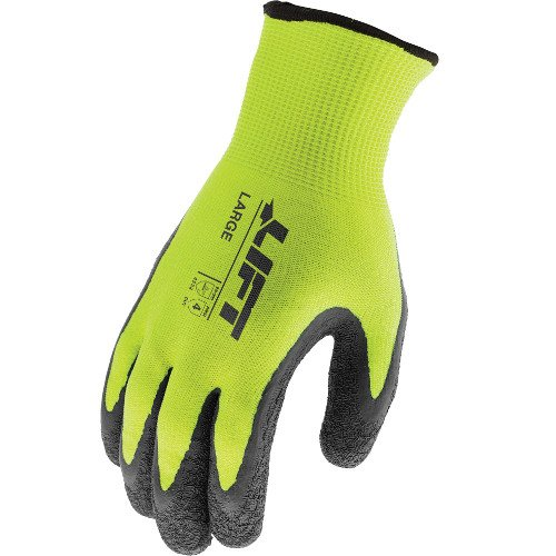 Lift Industrial Safety Gear GFW-15HVL Workman Series Fiberwire Winter Crinkle Latex Gloves, Large, Gray/Black