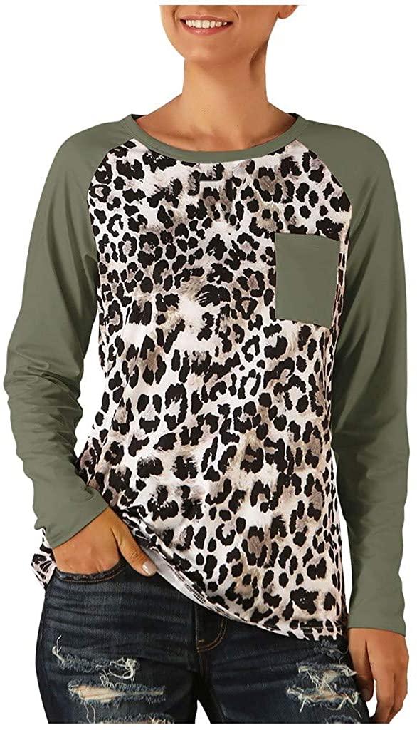 Women Blouse Raglan Sleeve Splice Leopard Print Patchwork T-Shirt Tunic Tops