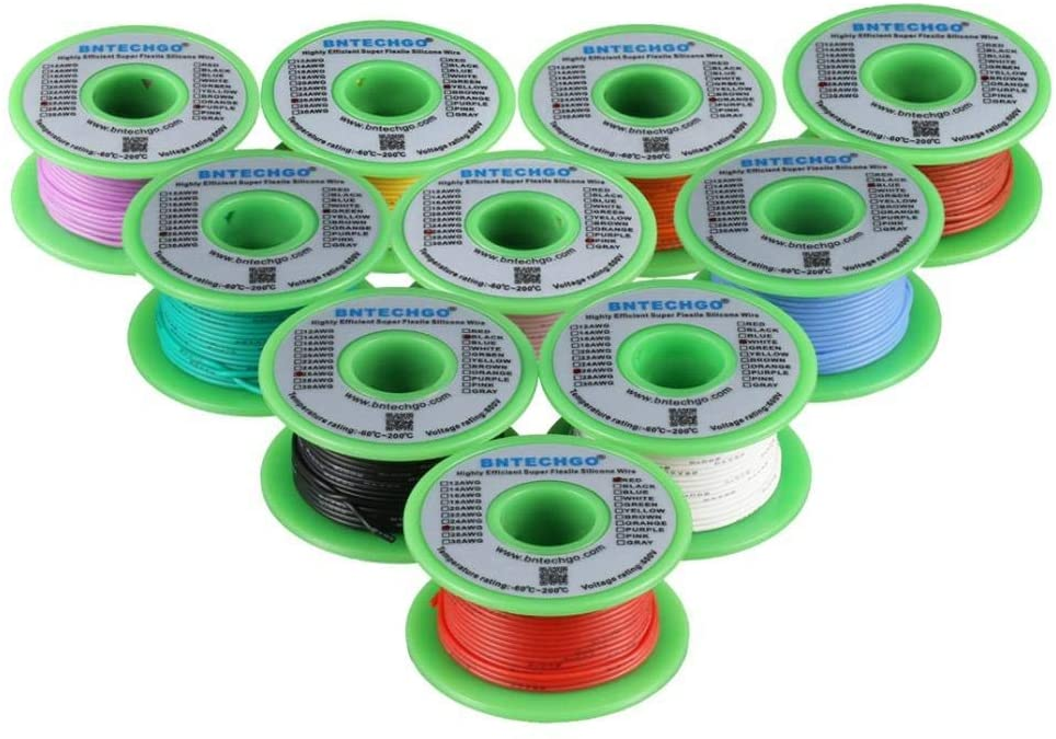 BNTECHGO 26 Gauge Silicone Wire Kit 10 Color Each 50 ft Flexible 26 AWG Stranded Tinned Copper Wire