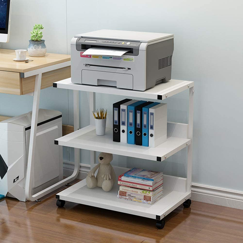 XM&LZ 3-Tier Printer Shelf Laptop Pc Table,Thicked Side Table Corner Desk,Movable Computer Desk Laptop Workstation Bedroom Office Study A 52x40cm(20x16inch)